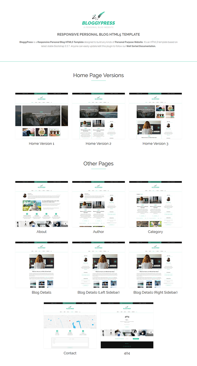 \ BloggyPress | Responsive Personal Blog HTML5 Template Nulled Free Download bloggypress screenshot